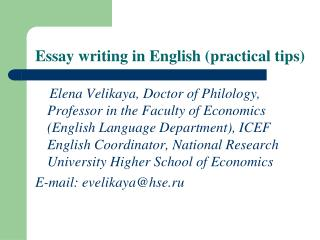 Essay writing in English (practical tips)
