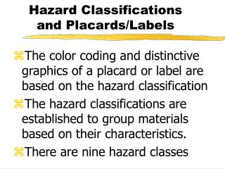 Hazard Classifications and Placards