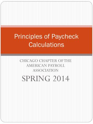 Principles of Paycheck Calculations