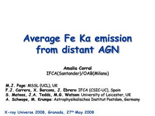 Average Fe K α  emission from distant AGN
