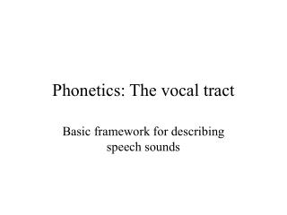 Phonetics: The vocal tract