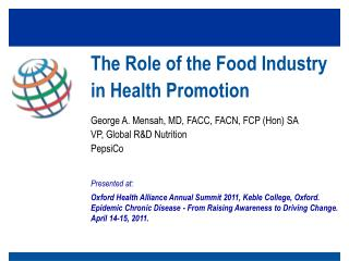 The Role of the Food Industry in Health Promotion