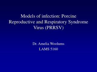 Models of infection: Porcine Reproductive and Respiratory Syndrome Virus PRRSV