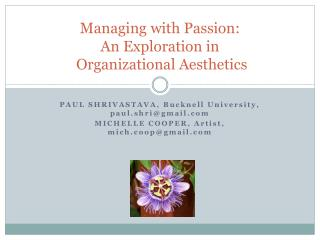 Managing with Passion: An Exploration in  Organizational Aesthetics