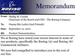 We at Boeing have noted your recent interest in some of our products, specifically the Boeing 757 and Boeing 767 Commerc