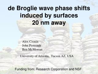de Broglie wave phase shifts induced by surfaces  20 nm away