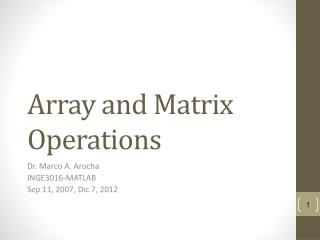 Array and Matrix Operations