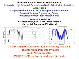 GEOSS Americas/Caribbean Remote Sensing Workshop – Transforming Data into Products