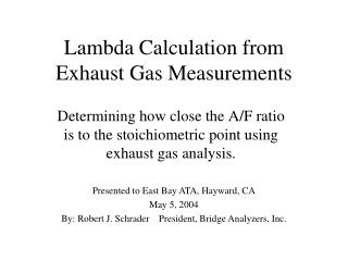 Lambda Calculation from Exhaust Gas Measurements