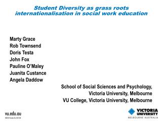 Student Diversity as grass roots internationalisation in social work education