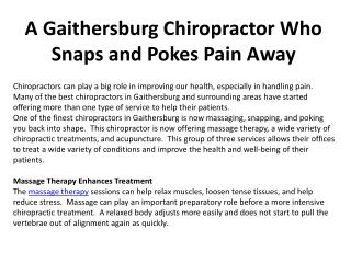 A Gaithersburg Chiropractor Who Snaps and Pokes Pain Away