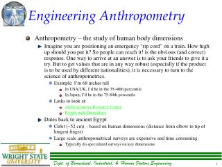 Engineering Anthropometry