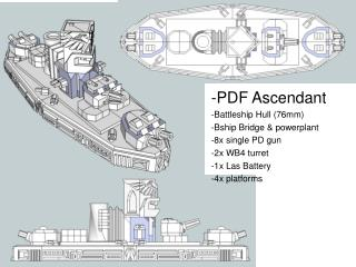 -PDF Ascendant -Battleship Hull (76mm) -Bship Bridge & powerplant -8x single PD gun -2x WB4 turret