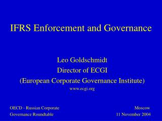 IFRS  Enforcement and Governance