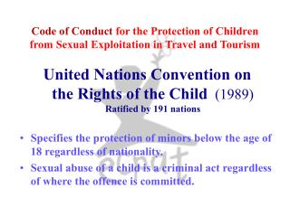 Code of Conduct  for the Protection of Children from Sexual Exploitation in Travel and Tourism