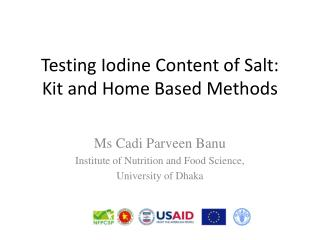 Testing Iodine Content of Salt:  Kit and Home Based Methods