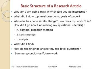 Basic Structure of a Research Article
