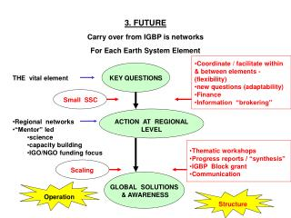 3. FUTURE Carry over from IGBP is networks For Each Earth System Element