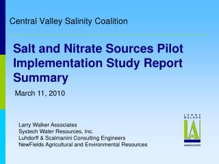 Salt and Nitrate Sources Pilot Implementation Study Report Summary