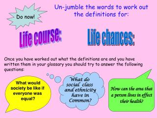 Un-jumble the words to work out the definitions for: