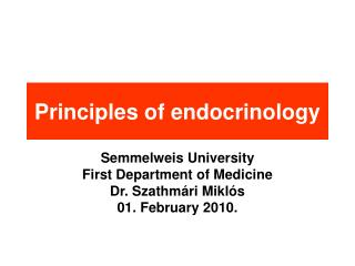 Principles of endocrinology