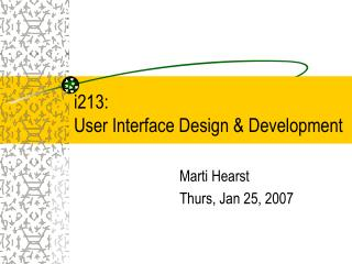 i213:  User Interface Design & Development