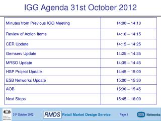 IGG Agenda 31st October 2012