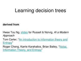 Learning decision trees