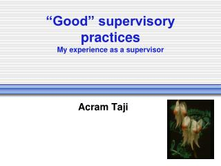 """Good"" supervisory practices My experience as a supervisor"
