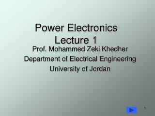 Power Electronics Lecture 1