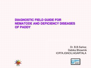 DIAGNOSTIC FIELD GUIDE FOR  NEMATODE AND DEFICIENCY DISEASES  OF PADDY