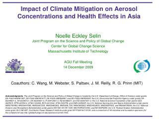 Impact of Climate Mitigation on Aerosol Concentrations and Health Effects in Asia