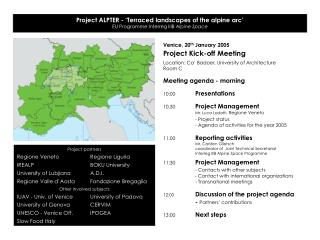 Project ALPTER - 'Terraced landscapes of the alpine arc' EU Programme Interreg IIIB  Alpine Space