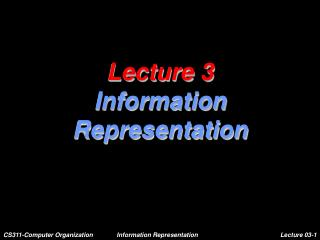 Lecture 3 Information Representation