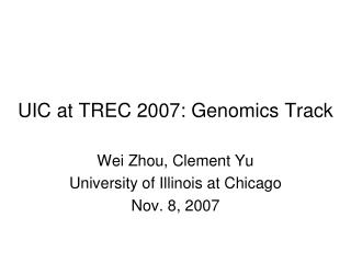 UIC at TREC 2007: Genomics Track