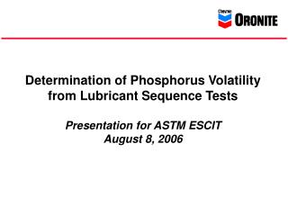 Phosphorus Volatility Summary and Recommendations  (5-4-06)