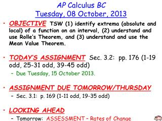 AP  Calculus  BC Tuesday ,  08  October,  2013
