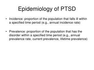 Epidemiology of PTSD