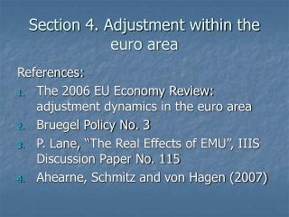 Section 4. Adjustment within the euro area