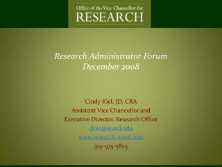 Research Administrator  Forum December 2008