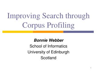 Improving Search through Corpus Profiling