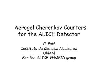 Aerogel Cherenkov Counters for the ALICE Detector