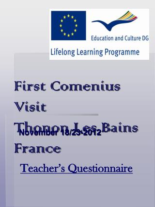 First Comenius Visit Thonon Les Bains France