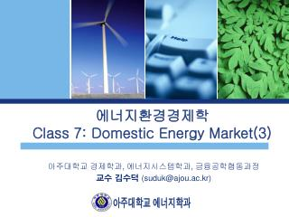 에너지환경경제학 Class 7: Domestic Energy Market(3)