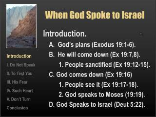 When God Spoke to Israel