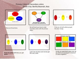 Primary Colors to Secondary colors Grade 3 by: Bertha Boamah, Keia