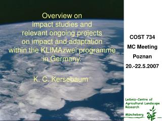 Overview on impact studies and relevant ongoing projects on impact and adaptation within the KLIMAzwei programme in