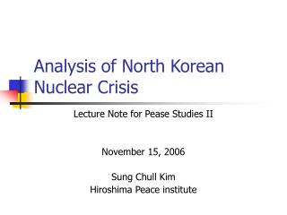 Analysis of North Korean Nuclear Crisis