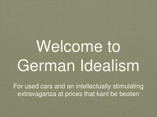 Welcome to German Idealism