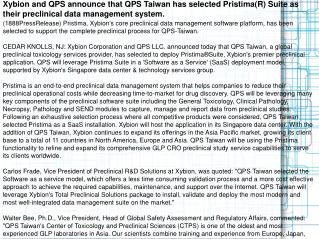 Xybion and QPS announce that QPS Taiwan has selected Pristim